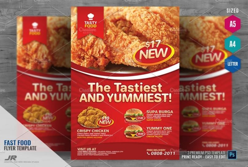 A4 Fast Food Ad Flyer Template