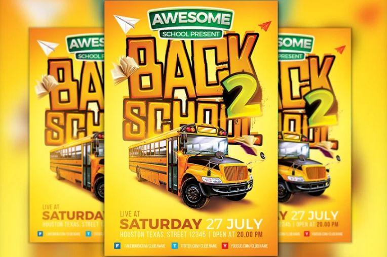 A4 School Event Flyer Template PSD