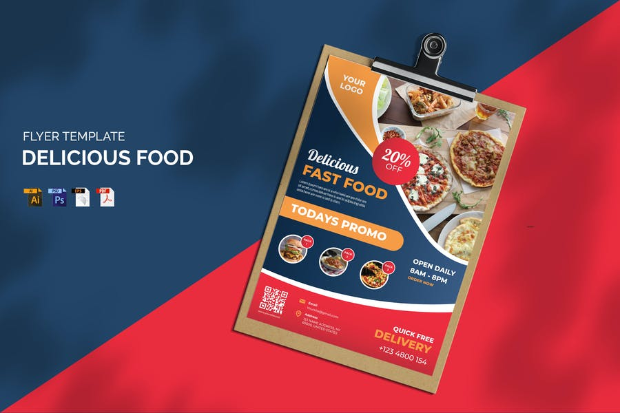 A4 Sizer Food Flyer Template