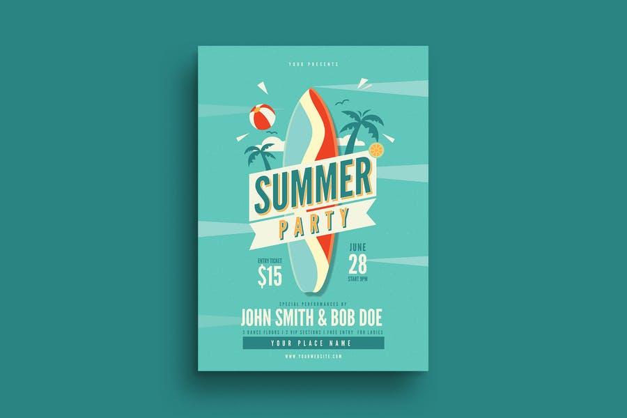 A4 Summert Party Flyer Templates