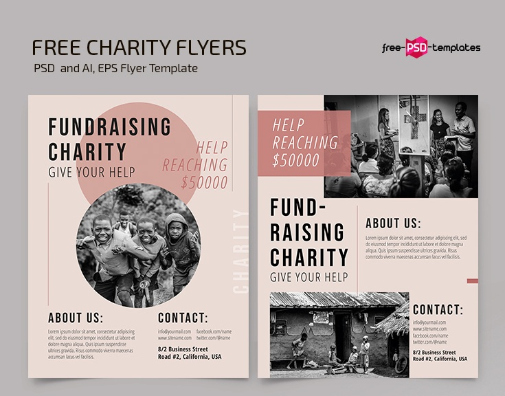 Ai and PSD Fundraiser Flyer Template