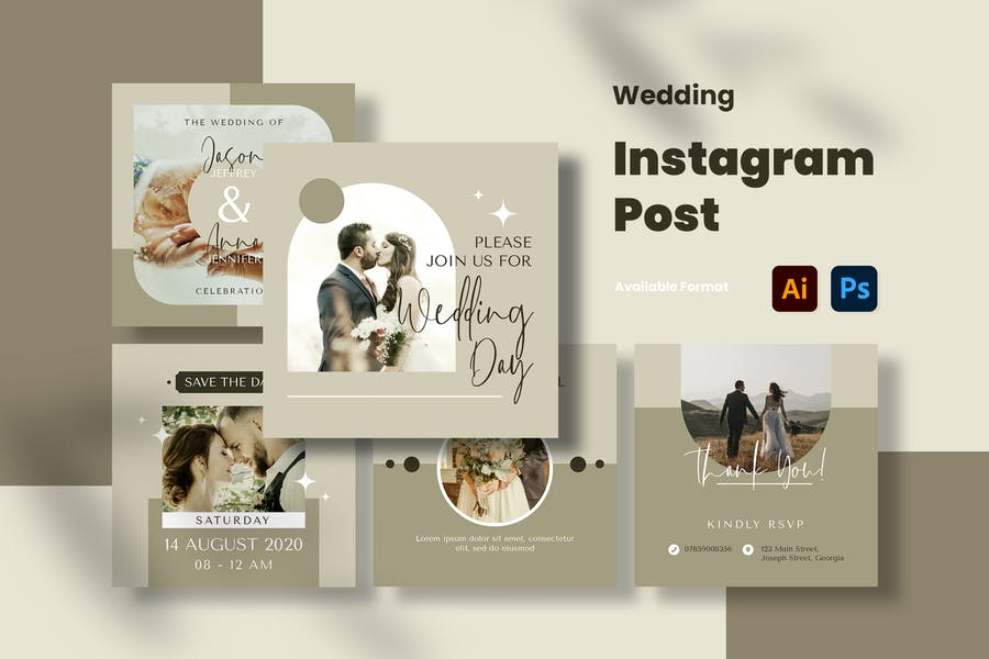 Ai and PSD Instagram Post Layouts