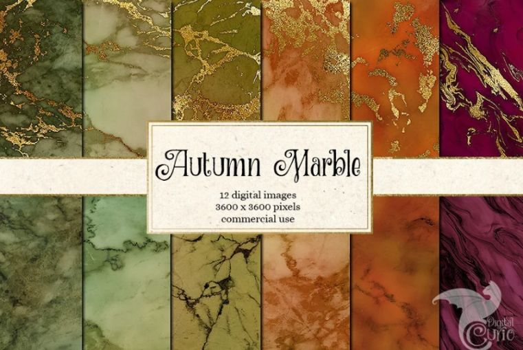 Autumn Marble Digital Papers