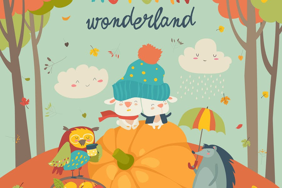 Background with Cute Animals