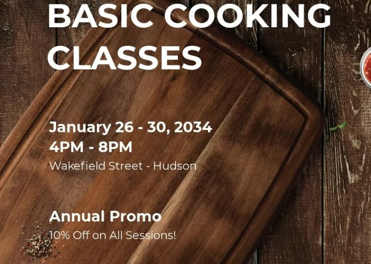 Basic Online Cooking Lessons Flyer