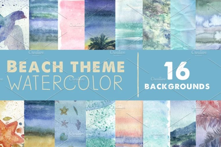 Beach Themed Watercolor Backgrounds
