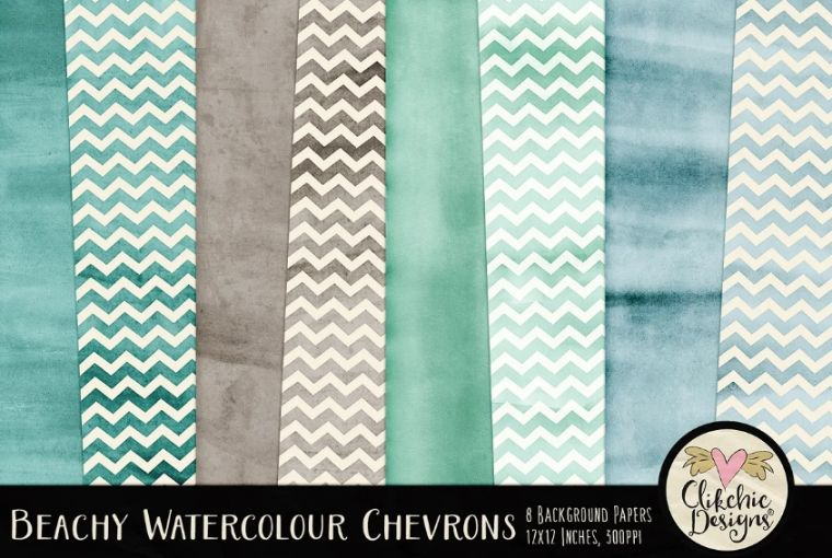 Beachy Watercolor Chevron backgrounds