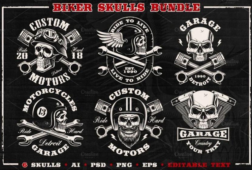 Bikers skull Illustration Bundle