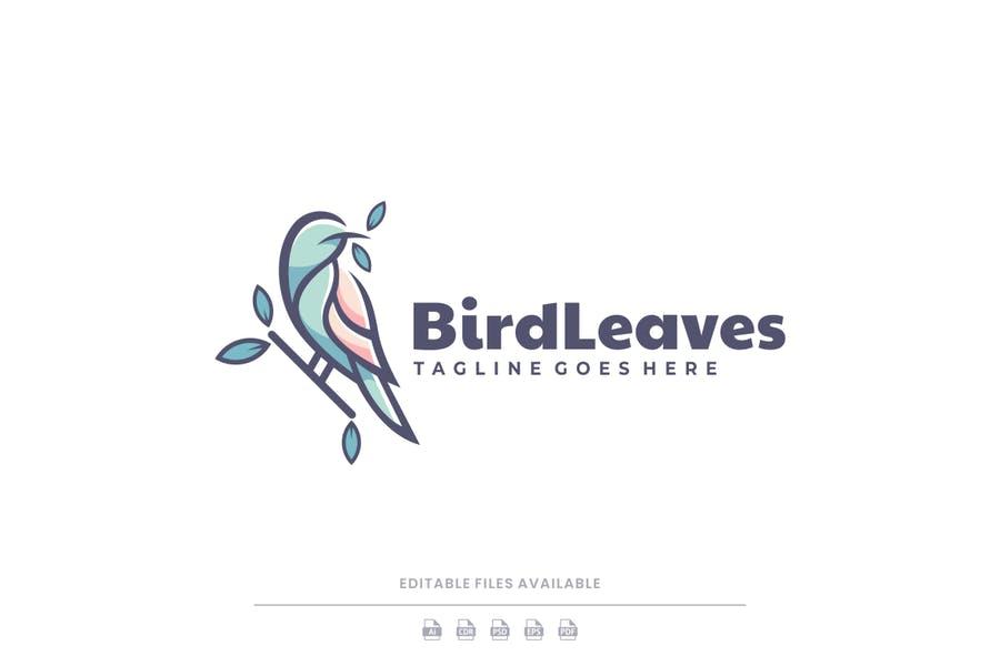 Bird Leaves Logo Template