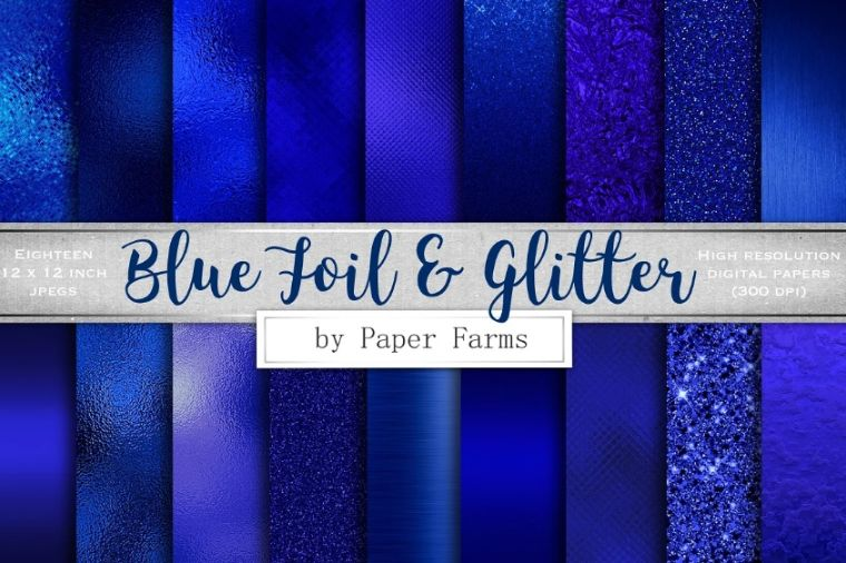 Blue Foil and Glitter Backgrounds