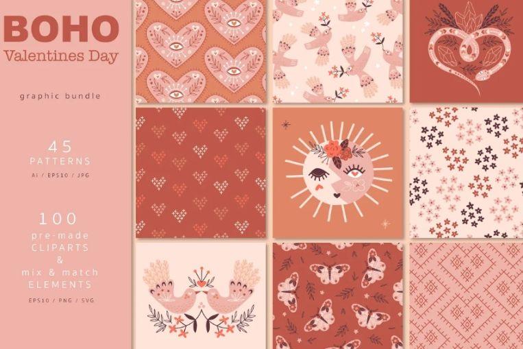 Boho Valentines Day Patterns