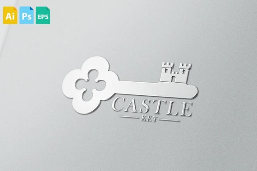 Castle Style Key Logo Identity Design