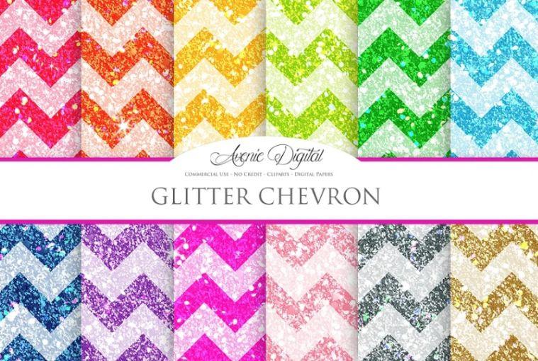 Chevron Glitter Digital Papers