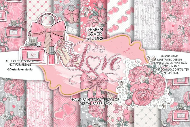 Classic Hearts Digital Papers