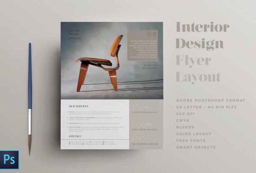 Clean Interior Design Flyer Layout