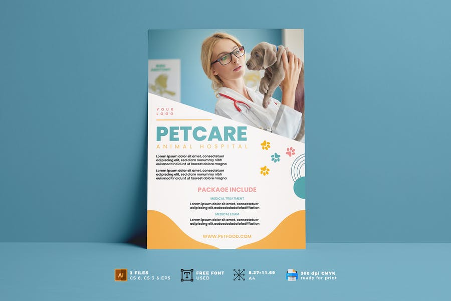 Clean Petcare Poster Template