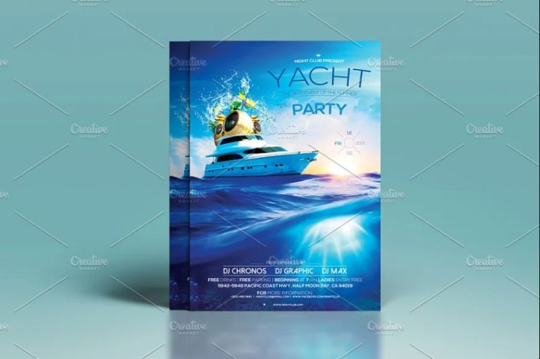 Clean Yacht Party Flyer Design