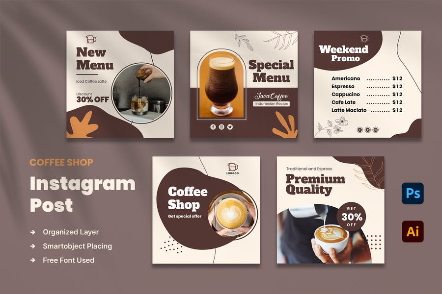 Coffee Store Instagram Post Layout