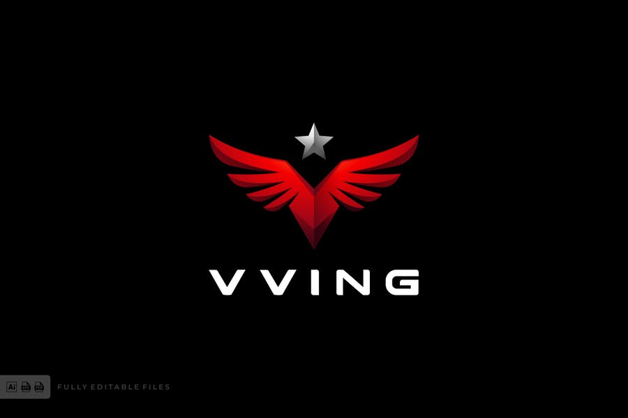 Colorful Style Wings Identity Design