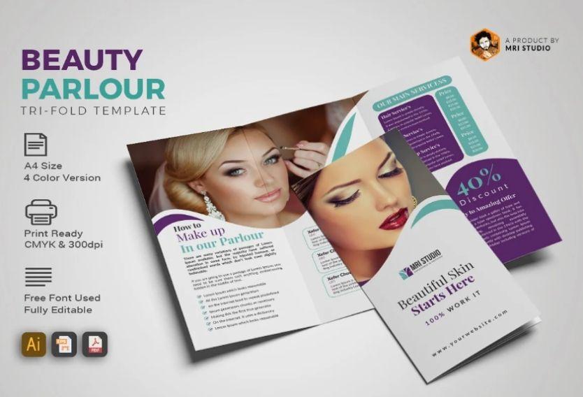 Creative Beauty Parlour Brochure Template