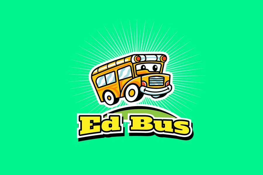 Cute Bus Mascot Logo Design