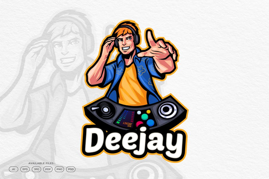 Deejay Mascot Logo Identity Design