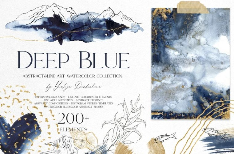 Deep Blue Watercolor Set