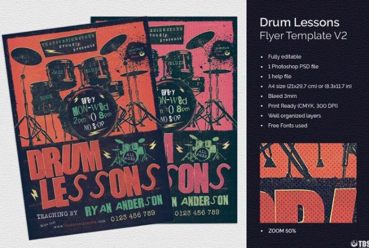 Drum Lessons Flyer Templates
