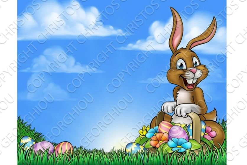 Easter Bunny and Eggs Background