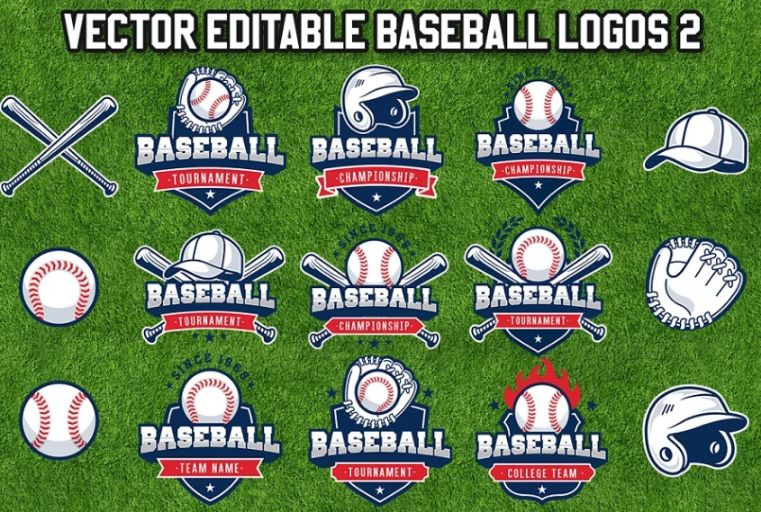 Editable Baseball Logo Design Template