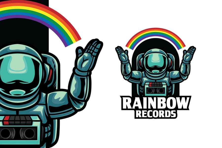 Editable Rainbow Records Logo