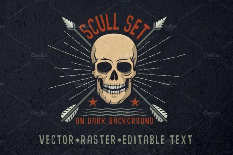 Editable Skull Logo Set