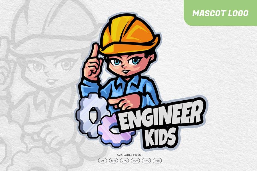 Engineer Kids Mascot Logo Design
