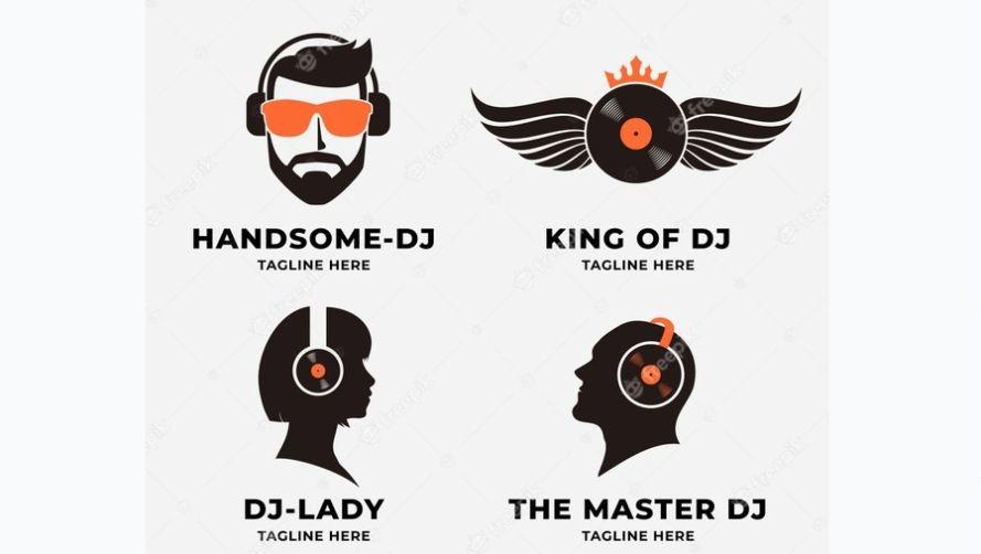Flat DJ Logo Designs
