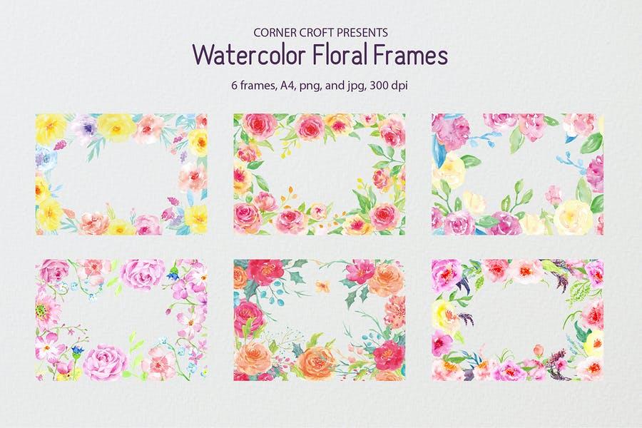 Floral watercolor Frames Design