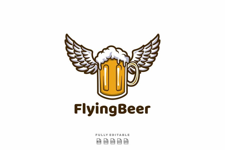 Flying beer Logo Design