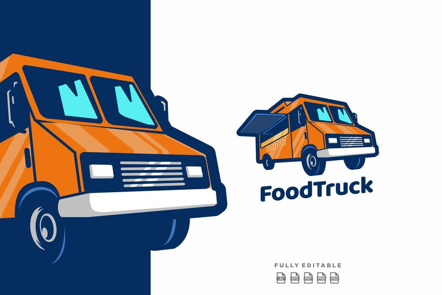 Food Truck Mascot Logo Design