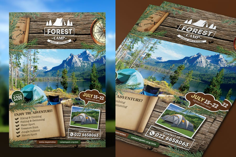 Forest Camping Poster Template Design