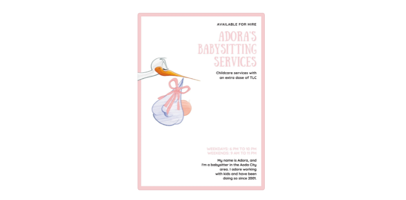 Free Baby Sitter Services flyer