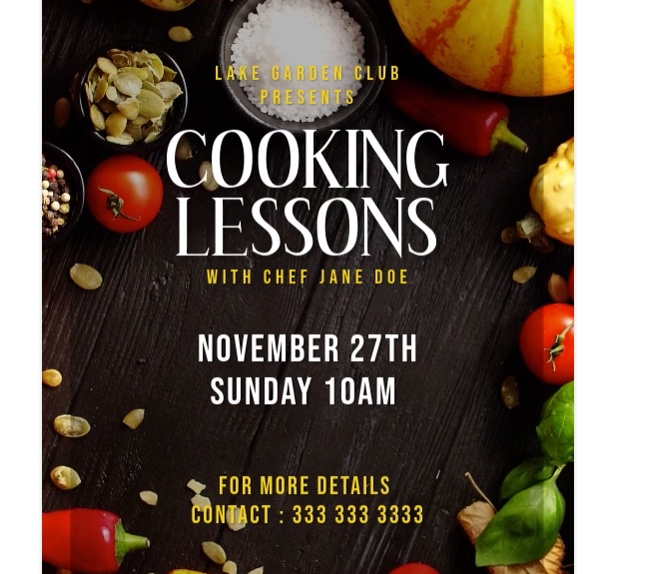 Free Cooking Class Flyer