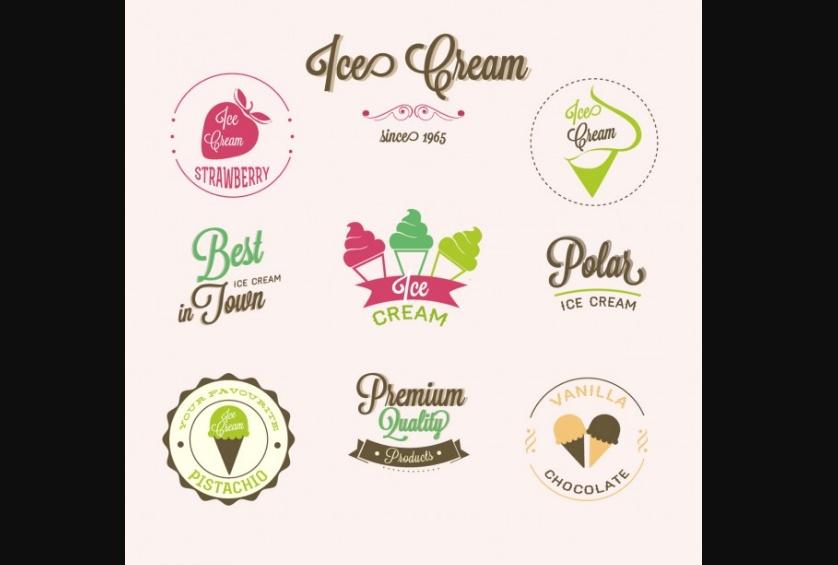 Free Ice Cream Logo Set