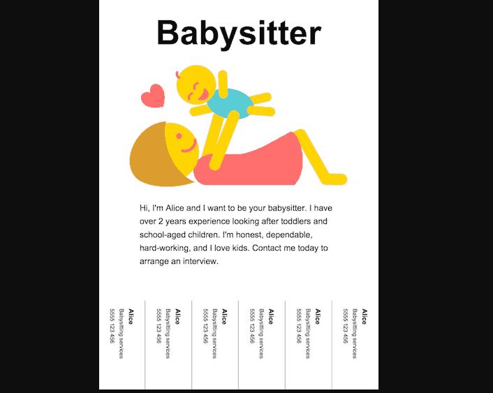 Free Onlne Baby Sitter Flyer