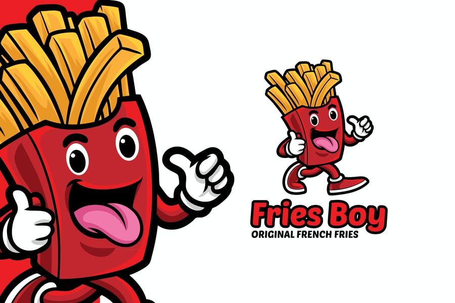 French Fries Mascot Logo