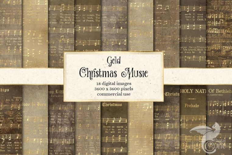 Gold Christmas Music Notes Background