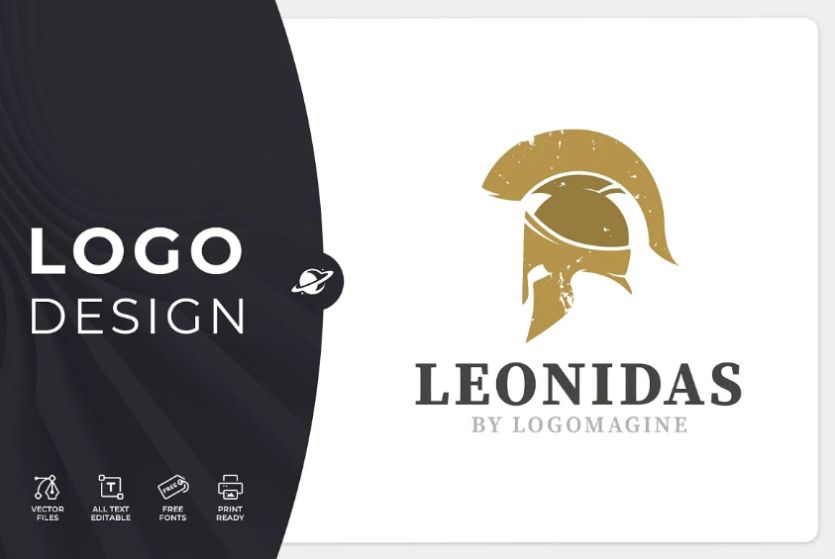 Greek Warrior Helmet Logo Design