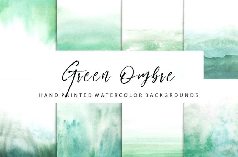 Green Ombre Watercolor Textures