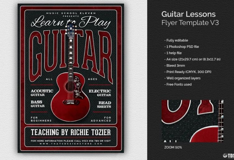 Guitar Music Lessons Flyers