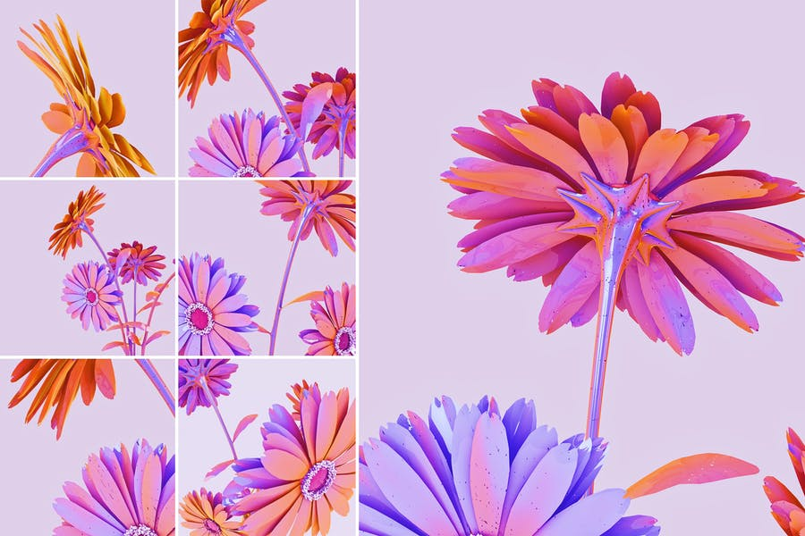 Halographic Flower Backgrounds