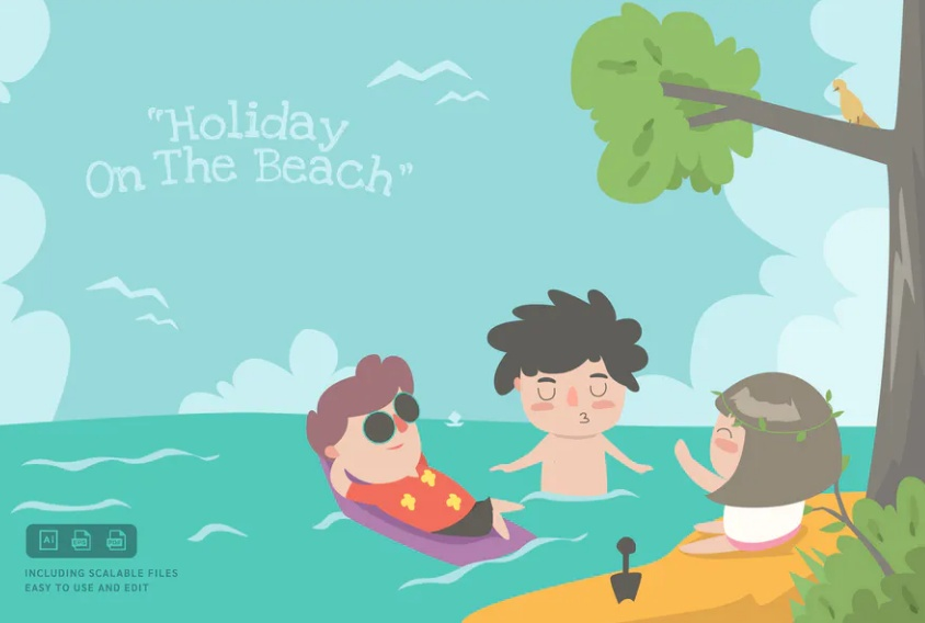 Holiday on Beach Backgrounds