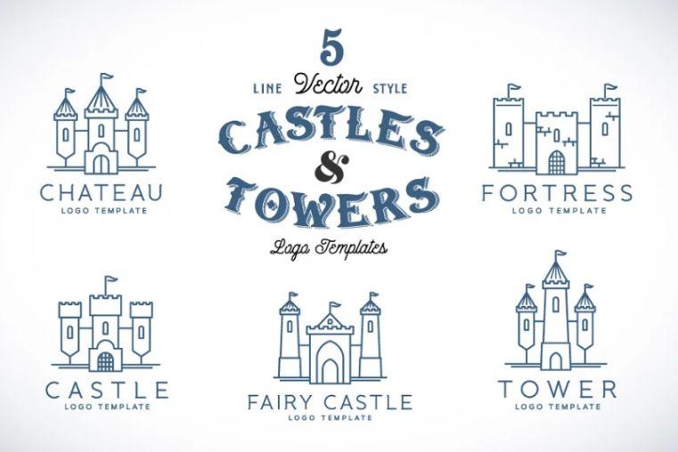 Line Style Castle Logo Designs